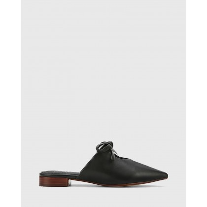 Magdalena Leather Pointed Toe Slip On Flats Black by Wittner