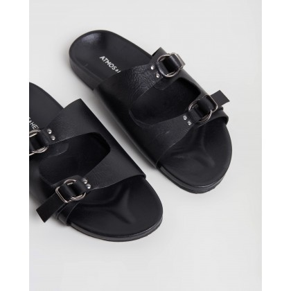 Mara Leather Slides Black Leather by Atmos&Here
