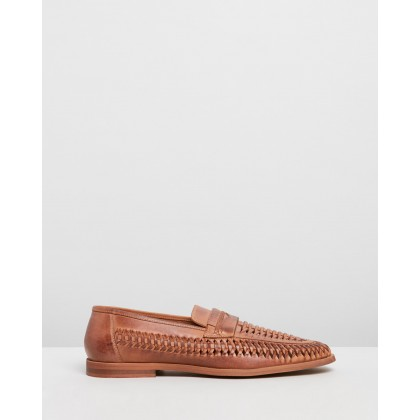 Marcos Woven Leather Loafers Tan by Staple Superior