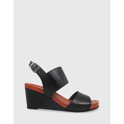 Marion Open Toe Wedge Sandals Black by Wittner