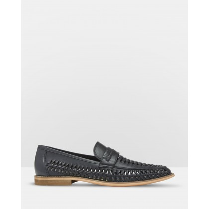 Matt Leather Woven Sandals Blue by Oxford