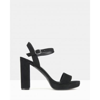 Maxie Block Heel Platform Sandals Black by Betts