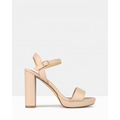 Maxie Block Heel Platform Sandals Blush by Betts