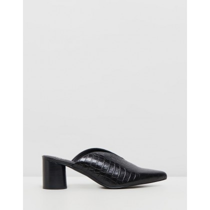 Megan Mules Black Croc by Sol Sana