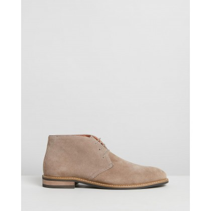 Mendy Suede Desert Boots Taupe by Double Oak Mills