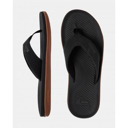 Mens Haleiwa Plus Thongs Black/Black/Brown by Quiksilver
