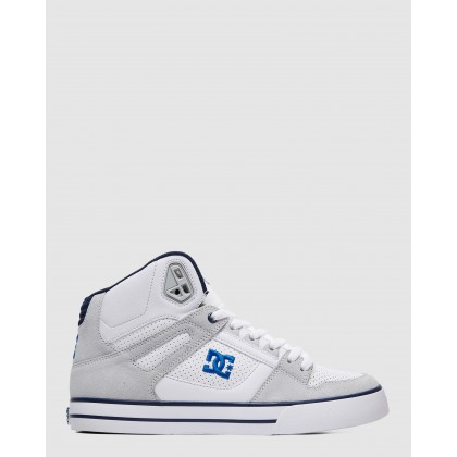 Mens Pure SE High Top Shoes White/Blue by Dc Shoes
