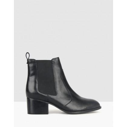 Mercury Block Heel Leather Boots Black by Betts