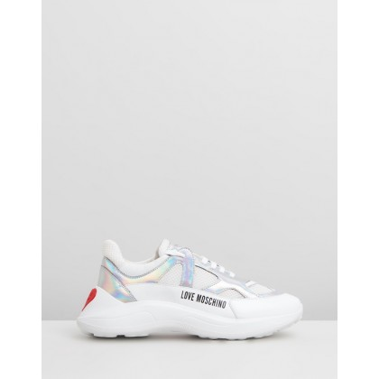 Mesh Sneakers White & Iridescent by Love Moschino