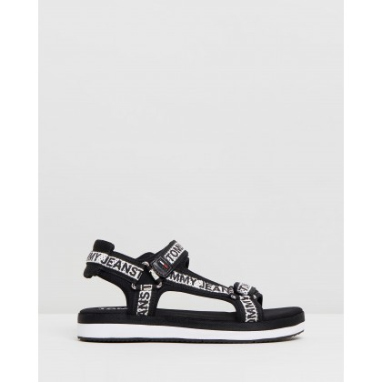 Mesh Webbing Sandals Black by Tommy Hilfiger