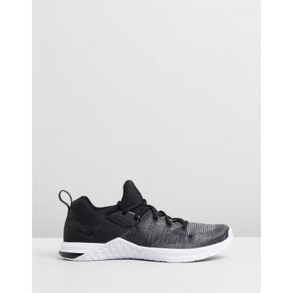 Metcon Flyknit 3 - Women's Black, Matte Silver & White by Nike