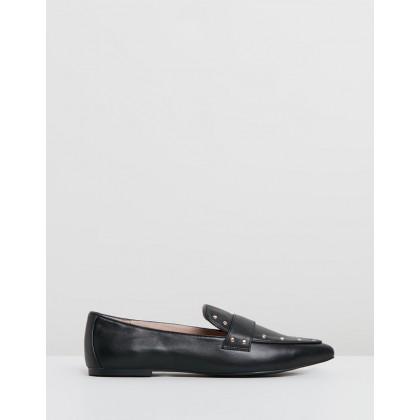 Mia Stud Flats Black Leather by Walnut Melbourne