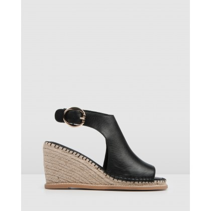 Mila High Heel Wedge Espadrilles Black Leather by Jo Mercer