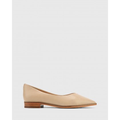 Miley Leather Pointed Toe Flats Beige by Wittner