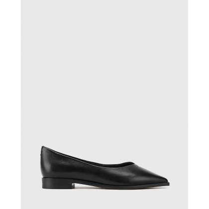 Miley Leather Pointed Toe Flats Black by Wittner