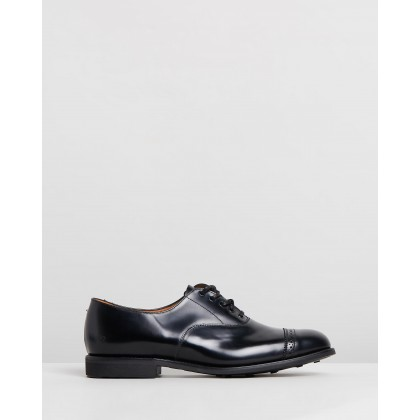 Military Punched Cap Oxford Black by Sanders