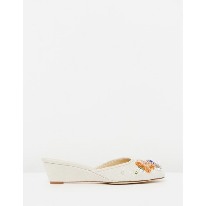Mini Wedge Slides Linen Beaded by J.Crew