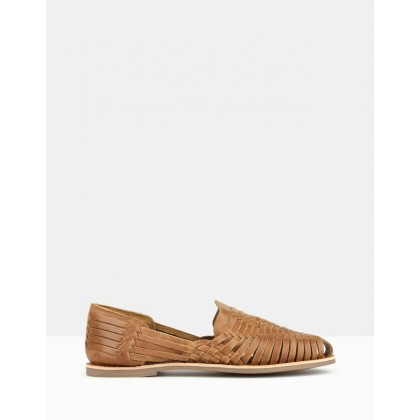 Monaco Leather Huarache Loafers Cognac by Betts