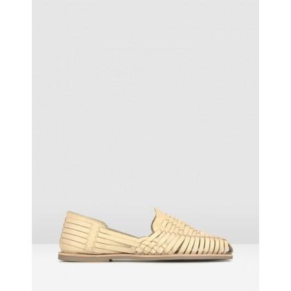 Monaco Leather Huarache Loafers Bone by Betts