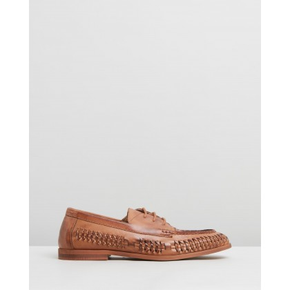 Morata Woven Leather Lace-Up Moccasins Tan by Staple Superior