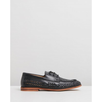 Morata Woven Leather Lace-Up Moccasins Black by Staple Superior