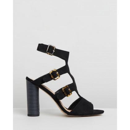 Multi Buckle Block Heels Black by Missguided