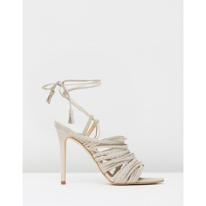Multi Strap Tassel Sandal Nude Suede by Mode Collective