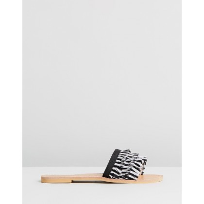Mykonos Fringe Sandals Black & White by Walnut Melbourne