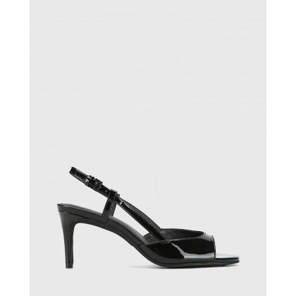 Nahla Patent Leather Open Toe Stiletto Heels Black by Wittner