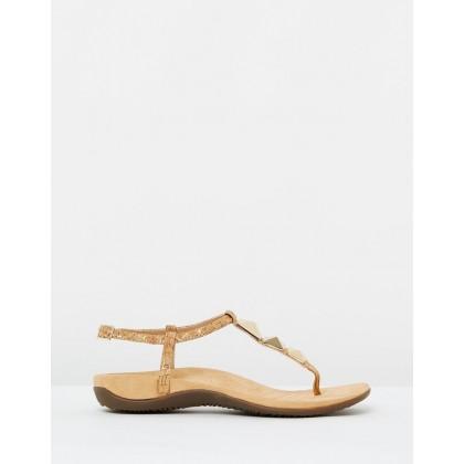 Nala T-strap Sandals Gold Cork by Vionic