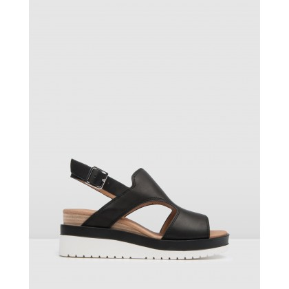 Nava Mid Sandals Black Leather by Jo Mercer