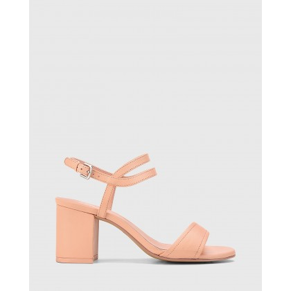 Neoma Leather Open Toe Block Heel Sandals Pink by Wittner