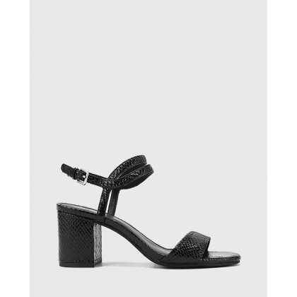 Neoma Mini Snake Print Leather Open Toe Block Heel Sandals Black by Wittner