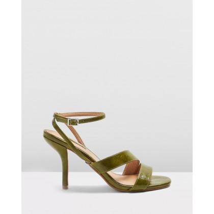 Nero Mid Heel Sandals Green by Topshop