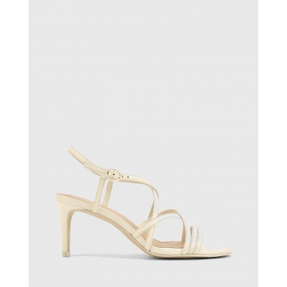 Nhalo Leather Stiletto Heel Sandals Cream by Wittner