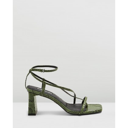 Nico Set Back Heels Green by Topshop