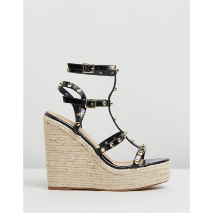 Nicola Wedges Black Smooth by Spurr