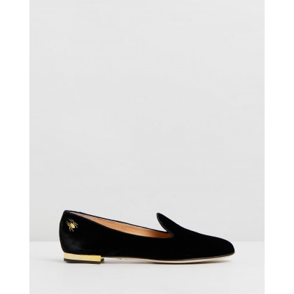 Nocturnal Flats Black Velvet by Charlotte Olympia