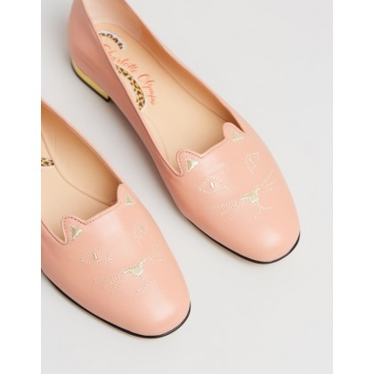 Nocturnal Kitty Flats Dusky Pink by Charlotte Olympia