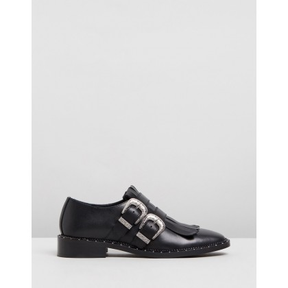 Noir Buckled Leather Low Shoes Black by Bronx