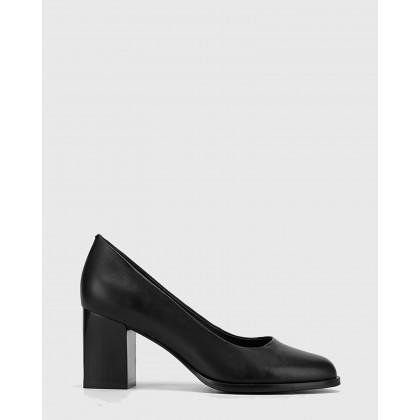 Nonie Nappa Leather Round Toe Block Heels Black by Wittner