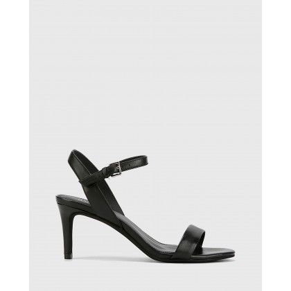 Nyra Nappa Leather Kitten Heel Sandals Black by Wittner