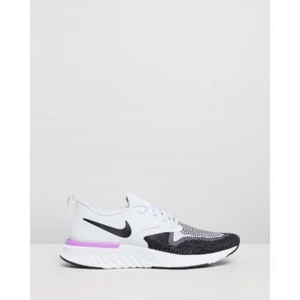 Odyssey React 2 Flyknit - Men's Pure Platinum, Black, White & Hyper Violet by Nike