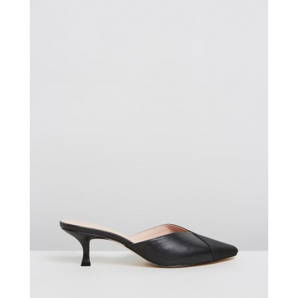 Olive Leather Kitten Heels Black Leather & Grosgrain by Atmos&Here
