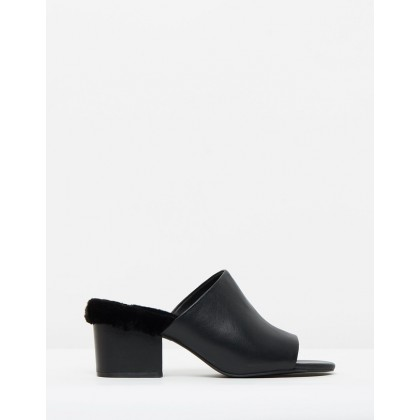 Oma Faux Fur Mules Black by Sol Sana