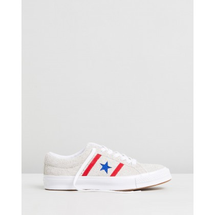 One Star Academy Archive Authentic - Men's White, Enamel Red & Blue by Converse