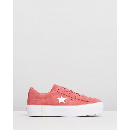 One Star Platform Seasonal Suede - Women's Light Redwood & White by Converse