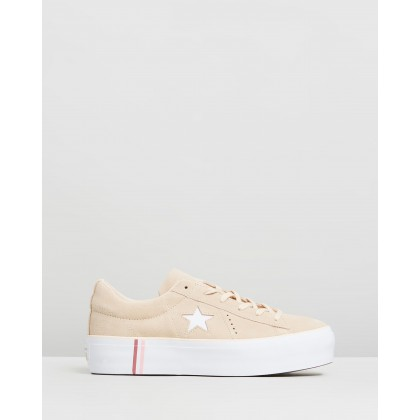 One Star Platform Seasonal Suede - Women's Light Bisque & White by Converse