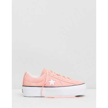 One Star Platform Sneakers - Women's Bleached Coral, Black & White by Converse