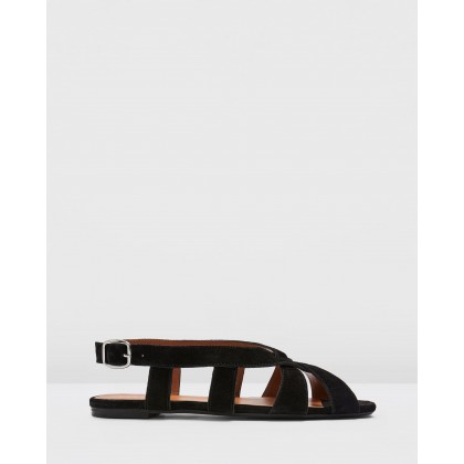 Opal Cross Front Sling Sandals Black by Topshop